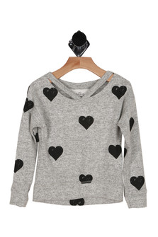 Heart sweater, long sleeves, vcut, soft