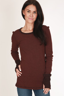 Long sleeve, maroon, thermal, thumb holes, reversible