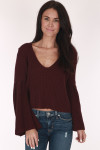 Bell Sleeves Maroon, knitted Sweater