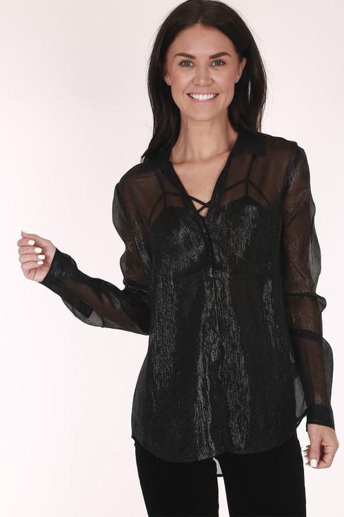 Black, button up sheer shirt silver tinsel
