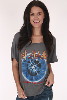 Band Tee, Def Leppard, Grey, White, Blue Eye with electricity
