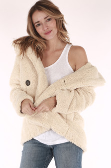 Peacoat, teddy fur, cream color, buttons on front, oversized, cozy, large collar