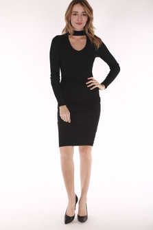 Black dress, long sleeve, v neck, chocker, ruching sides
