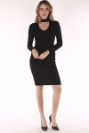 Black dress, long sleeve, v neck, chocker, ruching sides