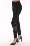 beaded black jean, Joe's jeans beaded black and silver design on hip and ankle