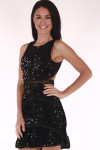 closer up view shows cut out at side with all over black sequin material