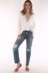 marshmallow white,, laced up top, cozy, long sleeve, belled sleeved