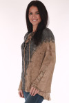 Sweater, belled sleeves, grey and peach, tye dye wet look, melting look,  laced front neck lined