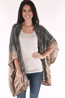 Rib Knit Oversized Tie Dye Cape