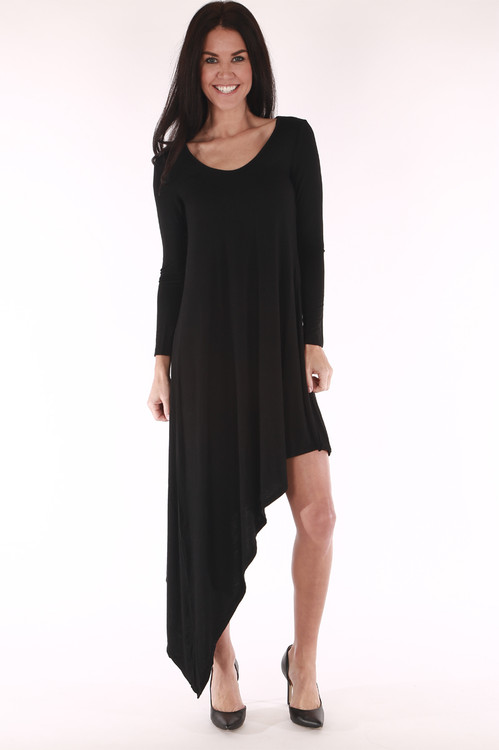 tailed dress, long sleeved, cocktail dress