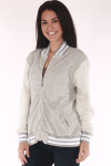 Bomber Jacket, zip up grey and white, stripes on trim