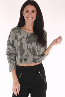 cropped, camo, sweatshirt