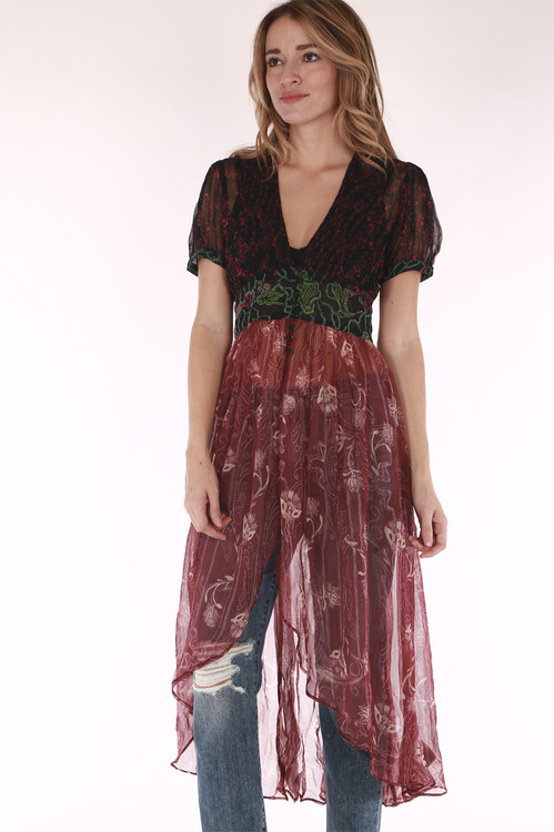 Floral, sheer, reds, purples, long, button up on chest