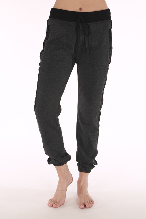 Pant, Charcoal, black, cuffed bottoms, draw string waste