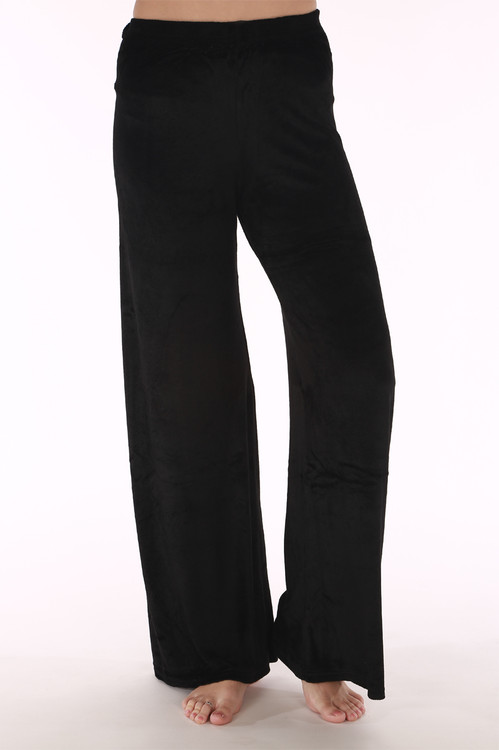 Velour pants, wide leg, black , velvet , sweats