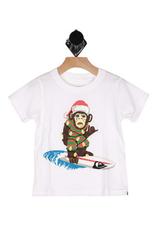 Surf monkey shirt, either white or black tee, monkey surfing on front with santa hat tied up in holiday lights.