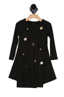 Flared dress, edgy bottom, black, hearts