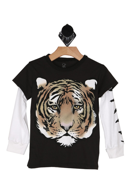 long sleeve, double layer, tiger on front, tiger strips on side