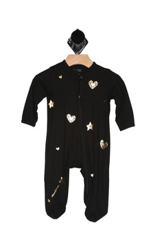 romper soft and black, gold stars and hearts falling all over,  long sleeve