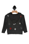 Grey and or black, hoddie, kiss mark on front, kiss mark, stars and googlie eyes on back