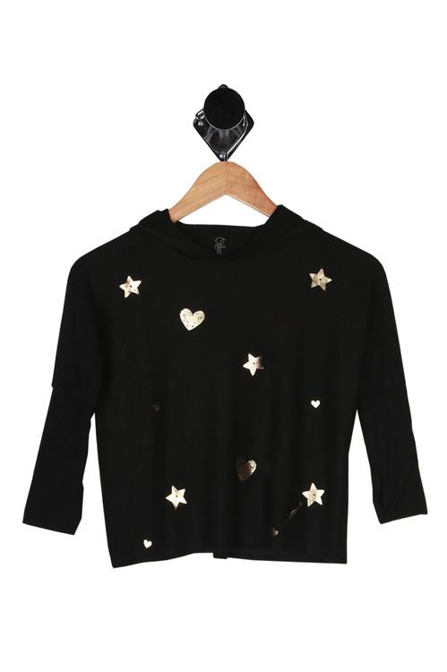 Oversize, pullover, black and gold designs, over size hood, solid black back