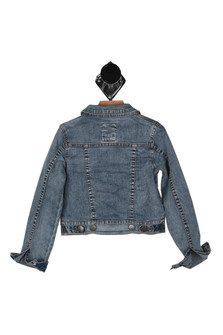 14 buttons denim jacket, cuffed sleeves, front pockets.