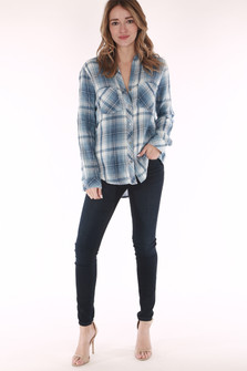 Plaid, blue, white, button up, long sleeve