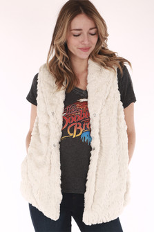 faux fur, white vest, button up