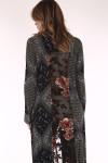 Button up, longer, buttons on cuffs, bandanna print, floral print, maxi dress