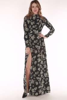 long sleeve, long, high neck line, double slit flowers,