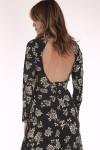 long sleeve, long, high neck line, double slit flowers,