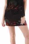 floral, velvet, skirt, mini, red, green and black
