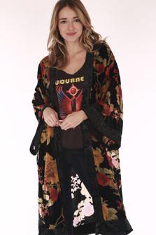 Kimono, floral, velvet, long open front