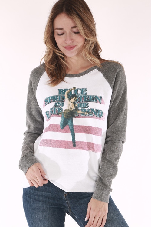 Sweatshirt bruce spring sting born in the USA red white blue, bruce springsting holding guitar, grey sleeves,white body