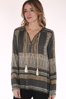 Flowy, blouse, rope and fringe front tassels floral patters blues, grey,  mustard yellow and creams