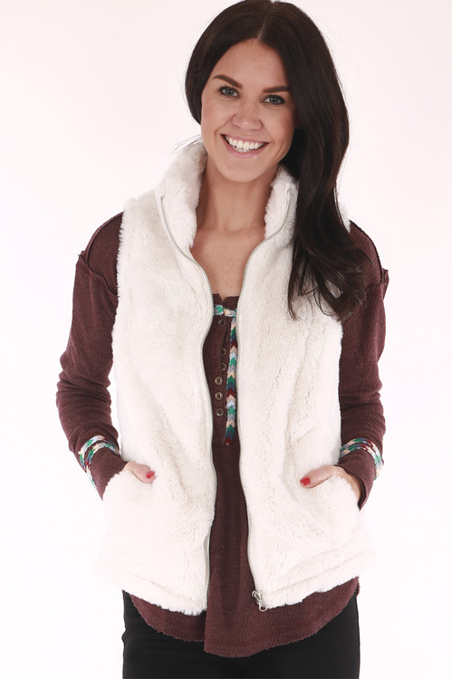 faux fur, white, vest, zip up