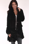 faux fur, longer ,jacket, black