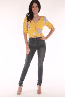 Freepeople, yellow floral blouse cropped sleeves, short hem,