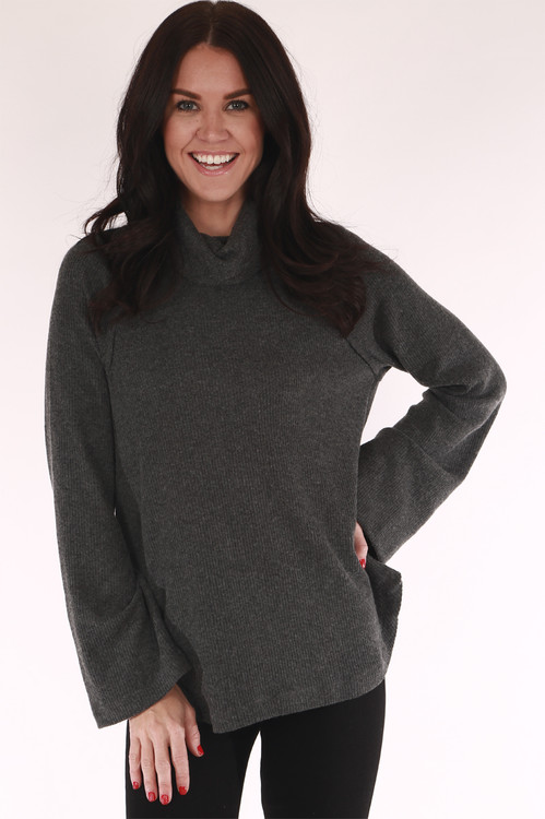 Tiny belled, grey, soft, turtle neck, long sleeve, sweater