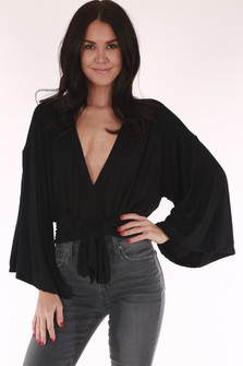 Low cut, v neck, belled sleeves, cropped, tie in front, black