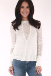 Blouse, black, white, Lacey sheer neck line, long sleeves, Lacey sheer sleeves, solid white cuffs