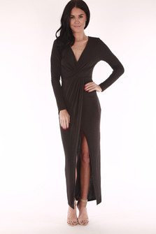 long sleeve, v neck, black, slit