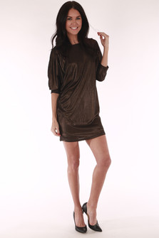 Baggy, golden, shimmery ruffled sleeves, short dress, strappy back