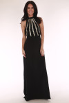Long dress, beaded front clasp neck and zip up front