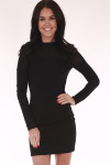 Mini black, fitted, long sleeve dress , turtle neck, zip up back
