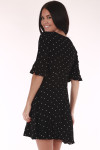 Flowly bottom, black, polka dot, v neck line, belled sleeves
