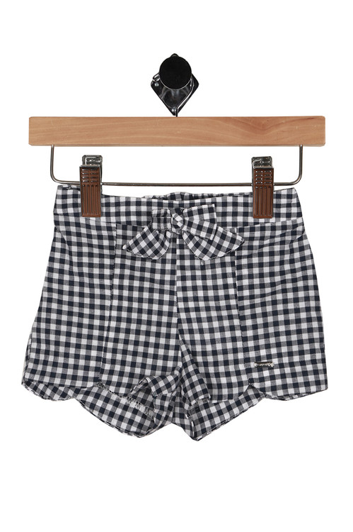 navy and white gingham print all over with front bow and scalloped bottom short hemline.