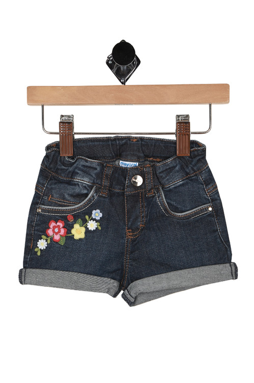 dark denim shorts, front shows floral patches under front right pocket. Snap closure