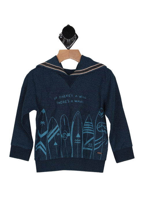 """long sleeves in dark navy color. front shows """"if there's a will, there's a wave"""" printed in light blue with surfboards lining bottom hem."""