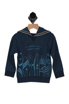 "long sleeves in dark navy color. front shows ""if there's a will, there's a wave"" printed in light blue with surfboards lining bottom hem."